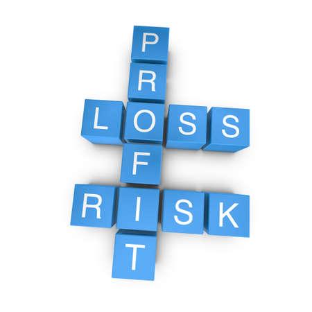 Risk related crossword on white background, 3D rendered illustration illustration
