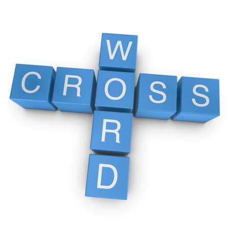 Crossword on white background, 3D rendered illustration
