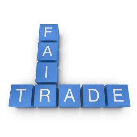 Fair trade crossword on white background, 3D rendered illustration