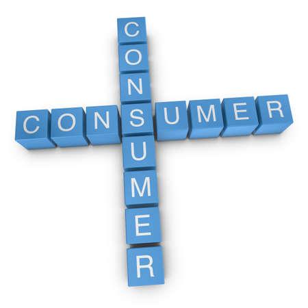 Consumer-to-consumer crossword on white background, 3D rendered illustration