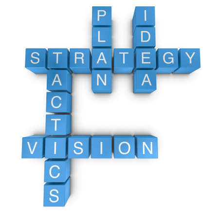 tactic: Strategic vision crossword on white background, 3D rendered illustration Stock Photo