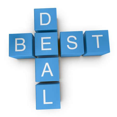 Best deal crossword on white background, 3D rendered illustration