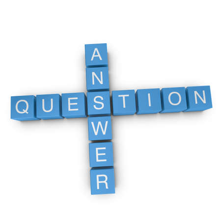 Question and answer crossword on white background, 3D rendered illustration Stock Photo