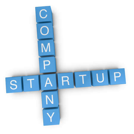 crossword: Startup company crossword on white background, 3D rendered illustration