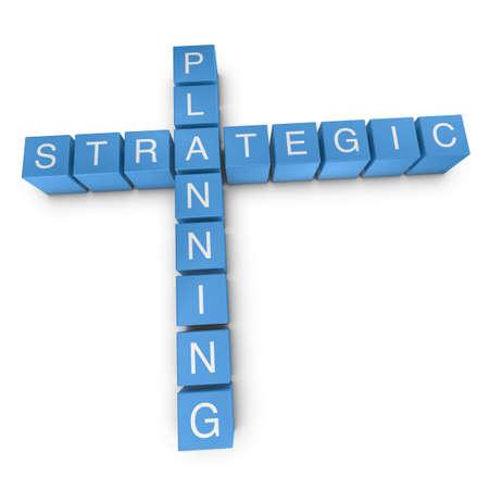 Strategic planning crossword on white background, 3D rendered illustration illustration