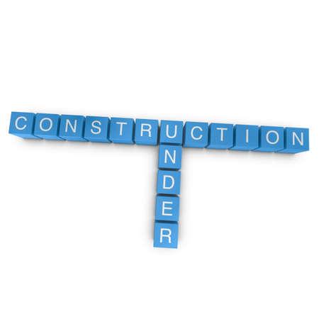Under construction crossword on white background, 3D rendered illustration illustration