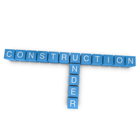 Under construction crossword on white background, 3D rendered illustration