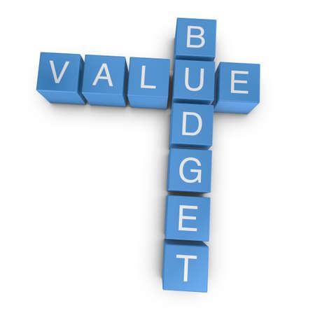 Value budget crossword on white background, 3D rendered illustration