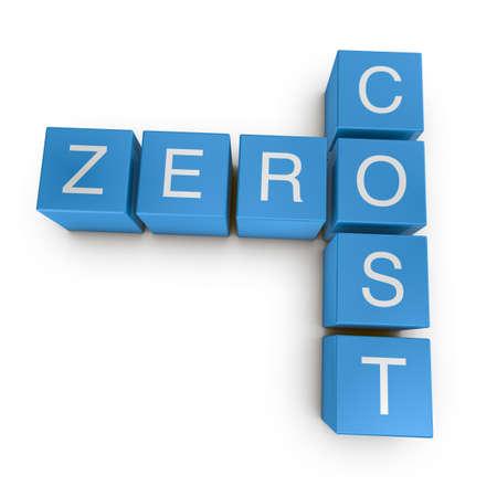 Zero cost crossword on white background, 3D rendered illustration Stock Illustration - 10328049