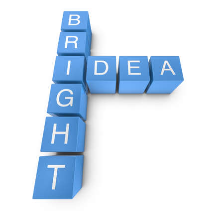 Bright idea crossword on white background, 3D rendered illustration