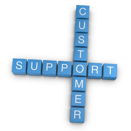 Customer support crossword on white background, 3D rendered illustration illustration