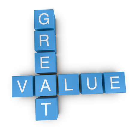 value: Cruciverba grande valore su sfondo bianco, reso illustrazione 3D Archivio Fotografico