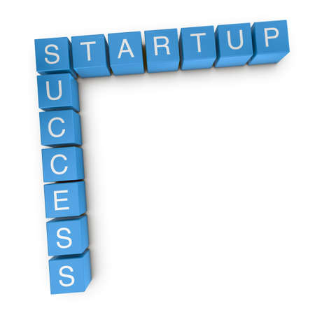 Startup success crossword on white background, 3D rendered illustration