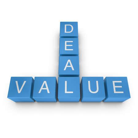 Value deal crossword on white background, 3D rendered illustration illustration