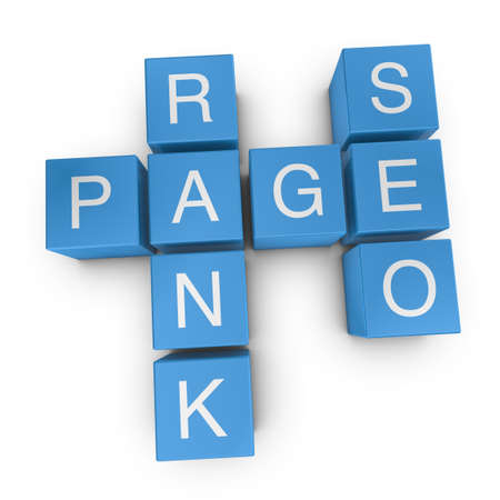 Pagerank SEO crossword on white background, 3D rendered illustration