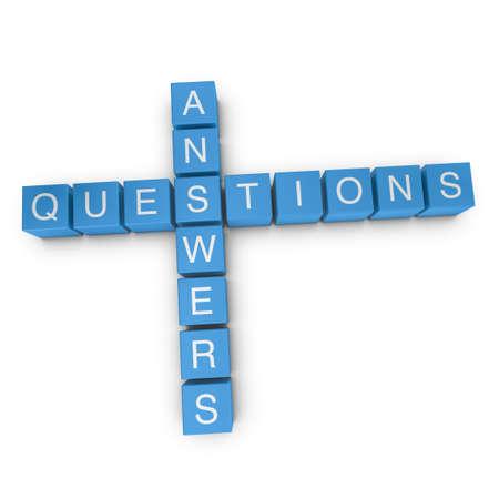 query: Vraag en antwoorden kruiswoordraadsel op een witte achtergrond, 3D teruggegeven illustratie