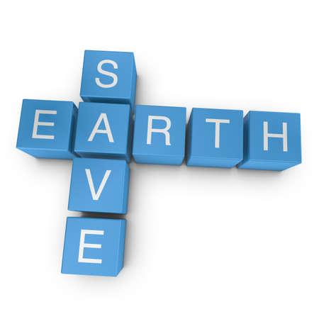 Save earth crossword on white background, 3D rendered illustration illustration
