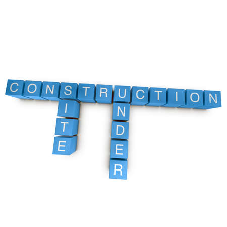 Site under construction crossword on white background, 3D rendered illustration illustration