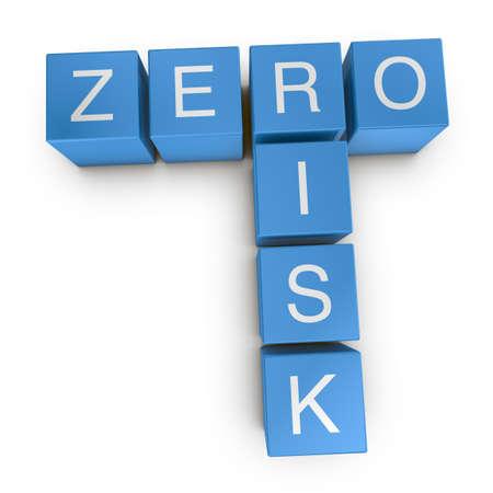 Zero risk crossword on white background, 3D rendered illustration illustration