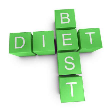 Best diet crossword on white background, 3D rendered illustration illustration
