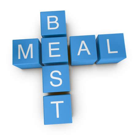 Best meal crossword on white background, 3D rendered illustration illustration