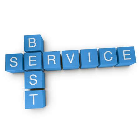 Best service crossword on white background, 3D rendered illustration illustration
