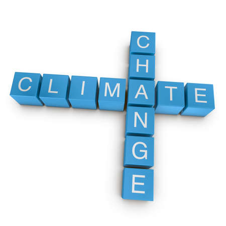 Climate change crossword on white background, 3D rendered illustration