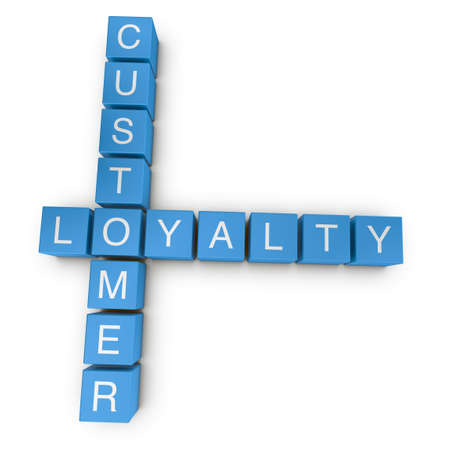 values: Customer loyalty crossword on white background, 3D rendered illustration
