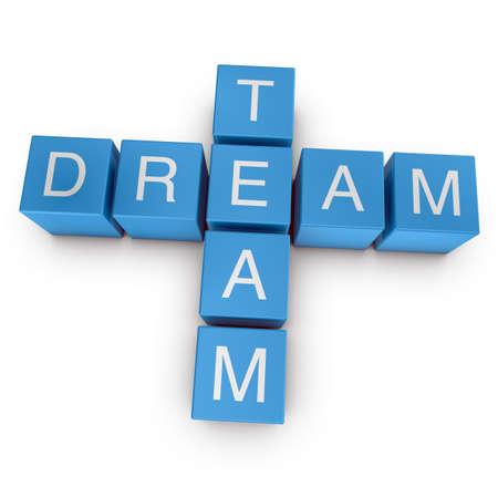 Dream team crossword on white background, 3D rendered illustration illustration