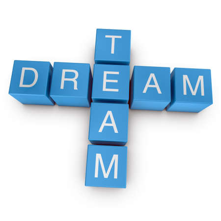 Dream team crossword on white background, 3D rendered illustration