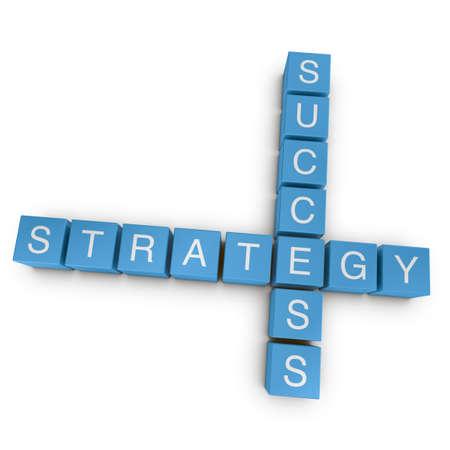 Strategic success crossword on white background, 3D rendered illustration illustration