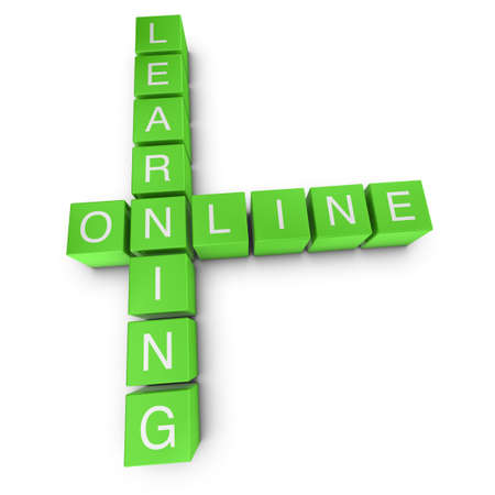 adult learning: Learning online crossword on white background, 3D rendered illustration