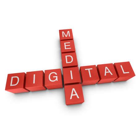 Digital media crossword on white background, 3D rendered illustration illustration