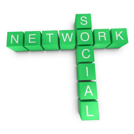 Social network crossword on white background, 3D rendered illustration
