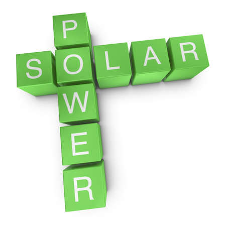 photovoltaic panel: Solar power crossword on white background, 3D rendered illustration Stock Photo