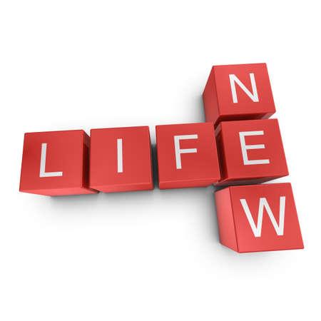 starting: New life crossword on white background, 3D rendered illustration
