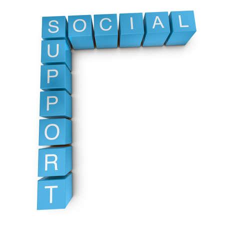 buzzword: Social support crossword on white background, 3D rendered illustration