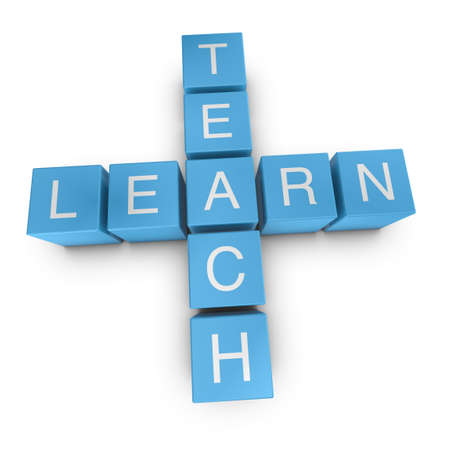 teach: Teach and learn crossword on white background, 3D rendered illustration Stock Photo