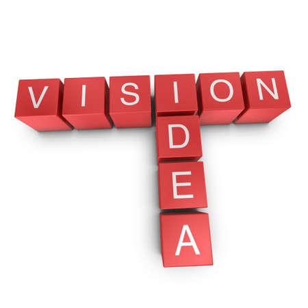 Vision and idea crossword on white background, 3D rendered illustration illustration