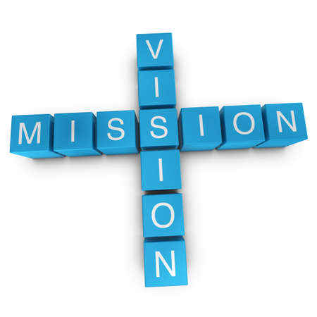 vision mission: Vision and mission crossword on white background, 3D rendered illustration