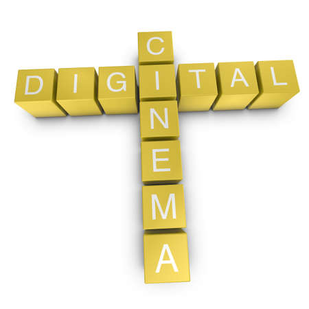 Digital cinema crossword on white background, 3D rendered illustration Stock Photo