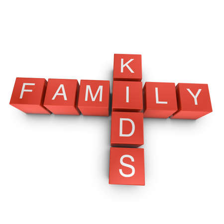 Family and kids crossword on white background, 3D rendered illustration