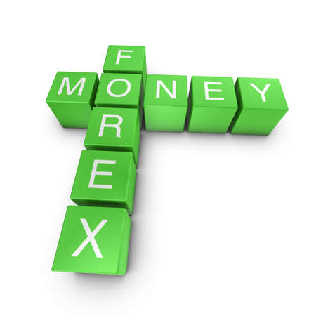 Forex and money crossword on white background, 3D rendered illustration illustration