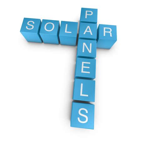 Solar panels crossword on white background, 3D rendered illustration