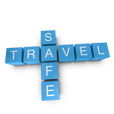 Travel safe crossword on white background, 3D rendered illustration illustration