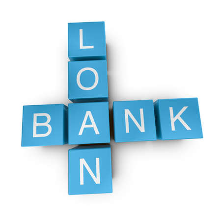 Bank loan crossword on white background, 3D rendered illustration illustration