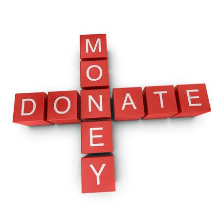 Donate money crossword on white background, 3D rendered illustration