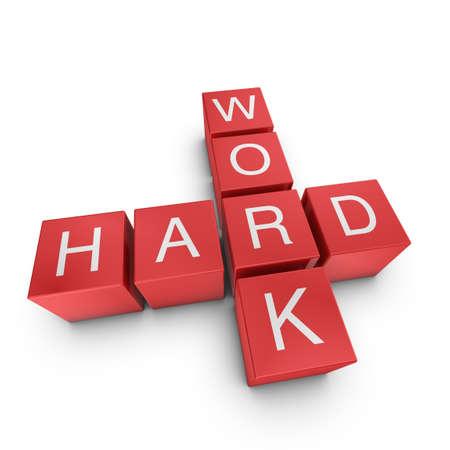 Hard work crossword on white background, 3D rendered illustration