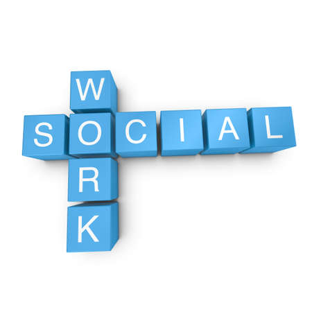 social work: Social work crossword on white background, 3D rendered illustration Stock Photo