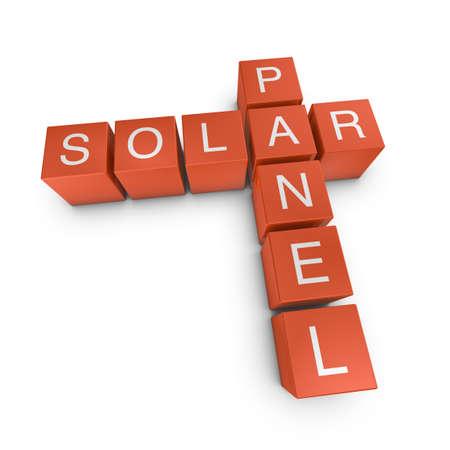 Solar panel crossword on white background, 3D rendered illustration Stock Photo